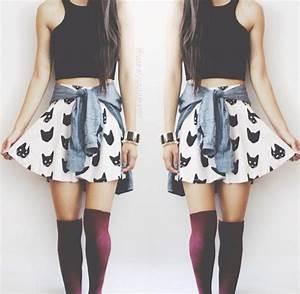 Cat Skater Skirt, Black Crop Top, Denim Shirt tied around ...