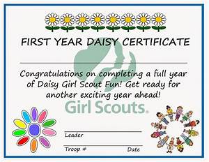 printable girl scout daisy investiture certificate just With girl scout certificate templates