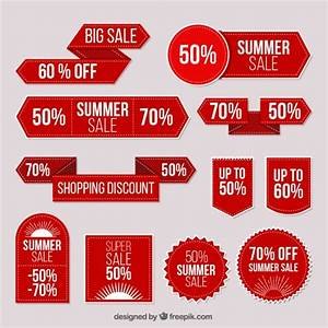 Collection of red stickers summer sale Vector | Free Download