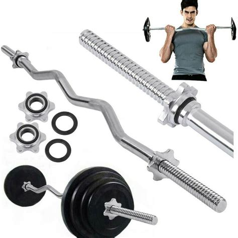 olympic straightcurl bar barbell weight set home