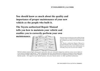 free auto repair manuals 2007 toyota highlander spare parts catalogs 2007 toyota highlander hybrid repair manual information pdf 2 pages