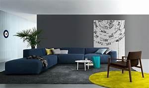 couleurs tendance pour un interieur contemporain With tapis moderne avec canapé en cuir bleu marine