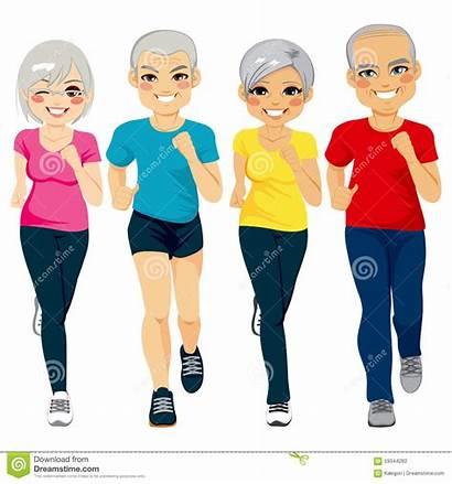 Walking Clipart Club Senior Exercise Runner Clip