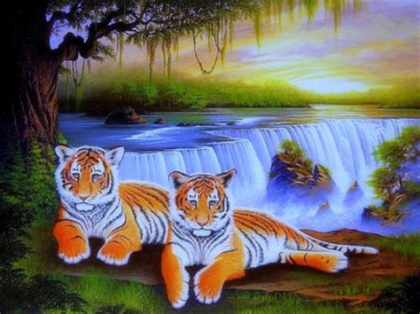 tigers  waterfalls waterfalls nature background