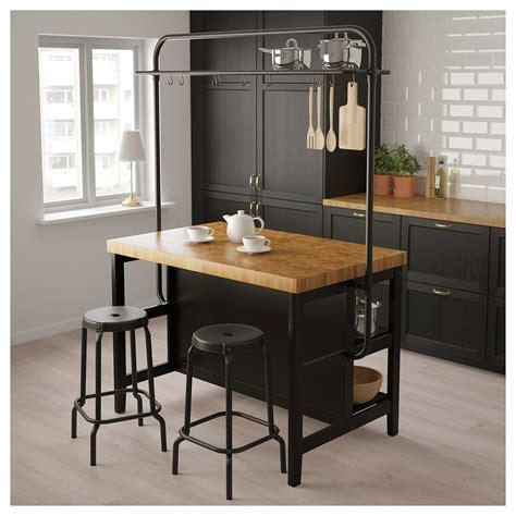 vadholma kitchen island  rack black oak