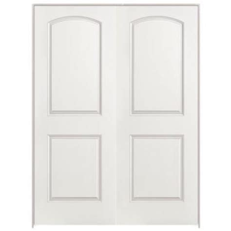 2 panel interior doors home depot masonite 48 in x 80 in roman smooth 2 panel round top hollow core primed composite double