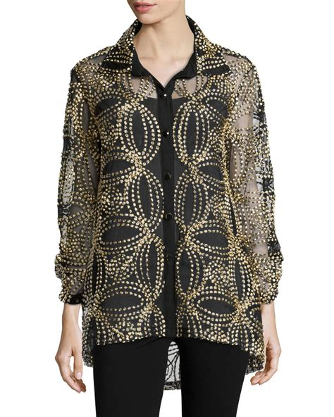 black and gold blouse berek seeds of gold sheer blouse in black save 26 lyst