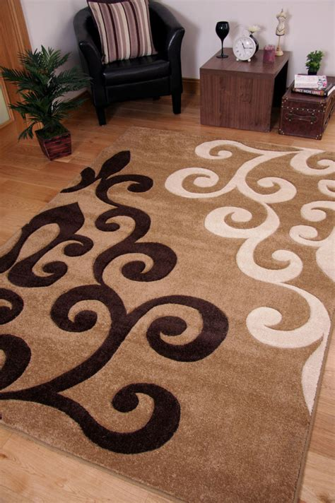 white and brown rug large flower motif beige brown small floor area
