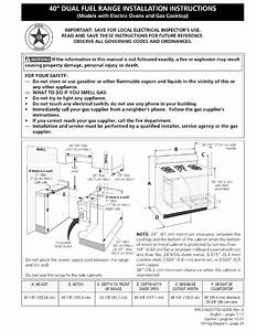 Kenmore 40 U0026quot  Dual Fuel Range Installation Instructions