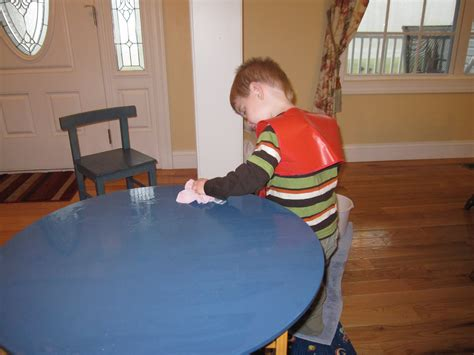 cleaning houses under the table washing a table 3yo style our montessori home