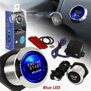 Car Suv Keyless Engine Ignition Power Switch Blue Led