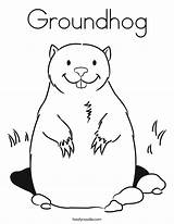 Groundhog Coloring Cartoon Pages Sheets Preschool Happy sketch template