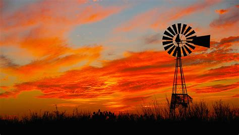 ennis sunset windmill mixed media  jr phillips