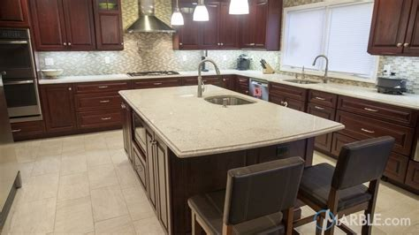 Itaunas White Granite Kitchen Countertop with an Ogee Edge