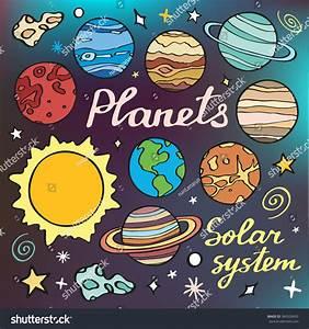 Planets Set Handdrawn Cartoon Collection Solar Stock ...