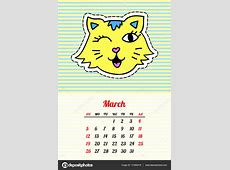 Calendar 2017 with cats March In cartoon 80s90s comic
