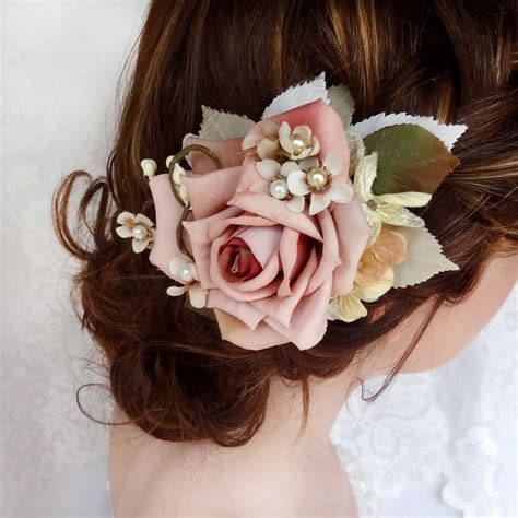 bridal hair clip dusty pink flower hair accessory