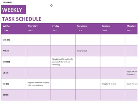 Schedule Template by Weekly Task Schedule