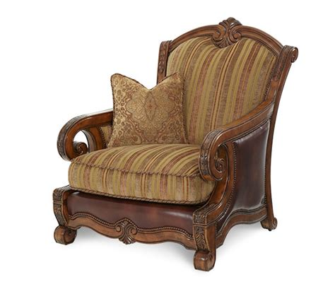wood trim leather fabric chair with ottoman tuscano by