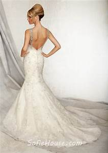 mermaid sweetheart low back lace beaded wedding dress with With low back lace mermaid wedding dress
