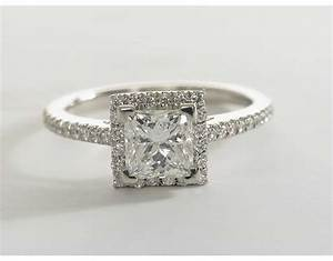 Princess cut halo diamond engagement ring in platinum for Platinum princess cut wedding rings