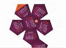 Calendario del 2012 para imprimir dodecaedro de Ubuntu 1204