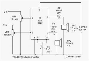 Free Wiring Diagram  Tda2822 Mono Amplifier Circuit