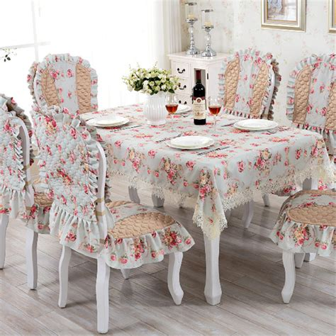 dinner table chair covers european tablecloth chari cover set lace elegant print