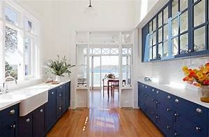 blue galley kitchen cottage kitchen arent pyke With what kind of paint to use on kitchen cabinets for cobalt blue wall art