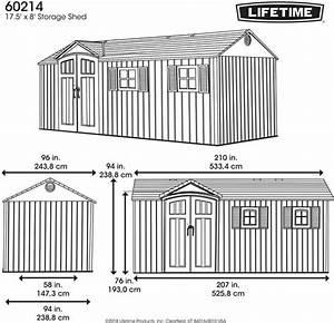 Lifetime 17 5x8 Plastic Storage Shed Kit W   Floor  60214