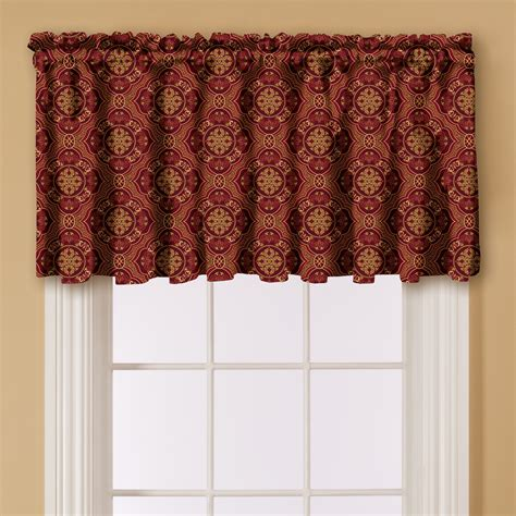 essential home print window valance red