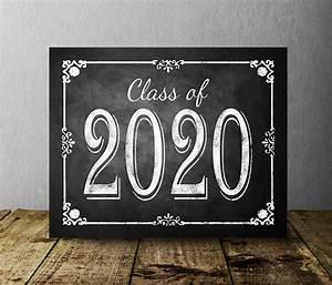 Congrats Grad Poster Class Of 2020 Chalkboard Graduation Sign Printable Digital