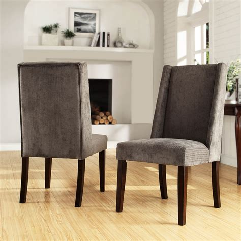 tribecca home ian grey chenille wingback dining chair set of 2 overstock shopping great