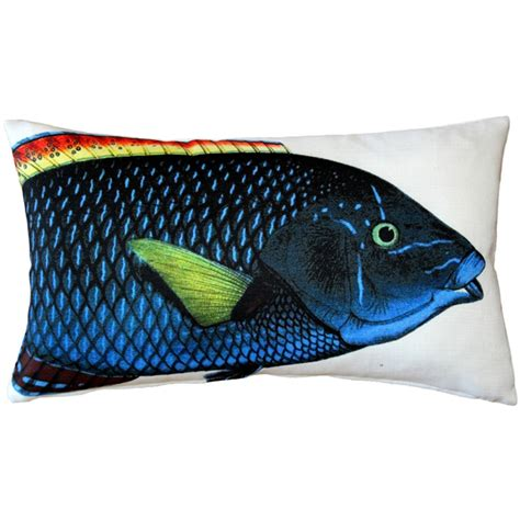 blue wrasse fish pillow