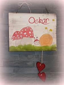 Türschild Kinderzimmer Basteln : t rschild kinderzimmer mit schnecke pilzen und insividueller beschriftung t rschilder von ~ Orissabook.com Haus und Dekorationen