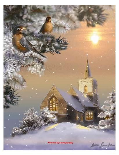 Scenes Snow Christmas Winter Gifs Snowy Scene