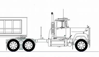 Mack Truck Drawing Line Superliner Drawings Draw