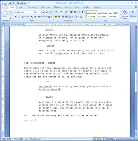 Microsoft Word Screenplay Template by How To Format Your Script