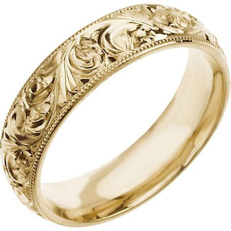 wedding band 6mm engraved ring 14k white or 14k yellow gold western cowboy ebay