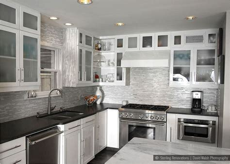 kitchen backsplash tile with white cabinets black countertop brown backsplash white cabinet black