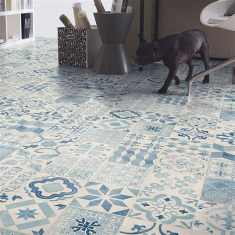 Pvc Imitation Carreaux De Ciment Sol Pvc Lino Imitation Carreaux De Ciment Bleu Larg 4m
