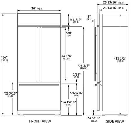 ge monogram zipsnhss   stainless steel counter depth french door refrigerator