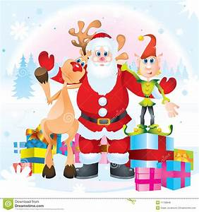 Santa Clause Rudolph And Elf Stock Vector Illustration