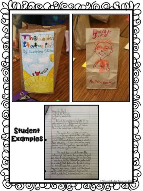 student examples  paper bag book report reading ideas