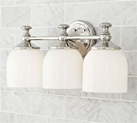 mercer triple sconce pottery barn bathroom pinterest