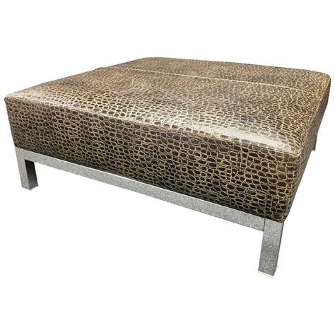 large leather ottoman striking large patterned leather and chrome base coffee