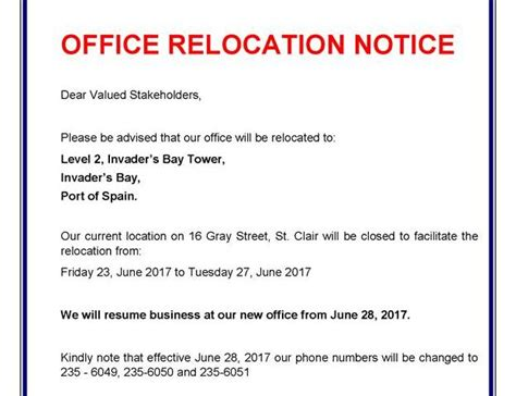 office relocation notice  institute  banking