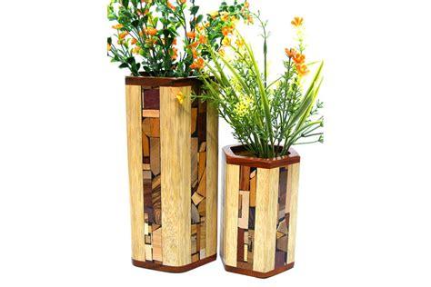Wooden Flower Vase by Mosaic Hex Vases W Glass Liner Designer Wooden Flower Vase
