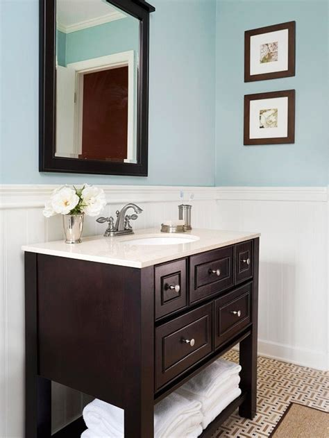 bathroom vanity color ideas light blue paint in bathroom with dark wood and light counters lovely lavatories pinterest