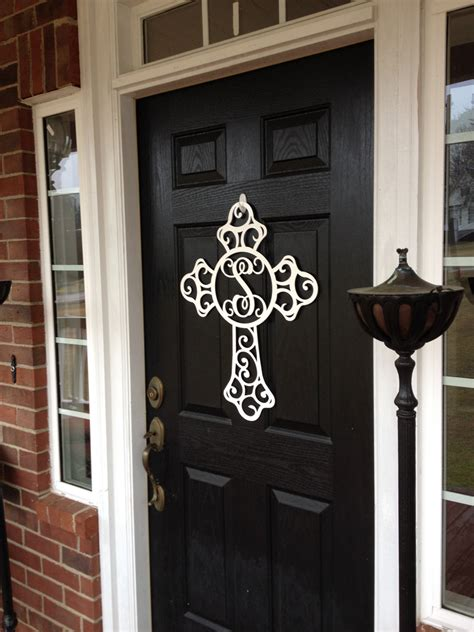 metal front door wreath cross door hanger monogram door